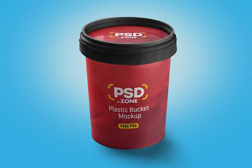 free plastic bucket mockup