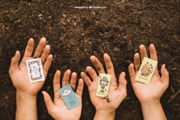 Free Gardening Hands Plus Dirt Mockup in PSD