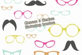 Free Mustaches Plus Eyeglasses Mockup in PSD