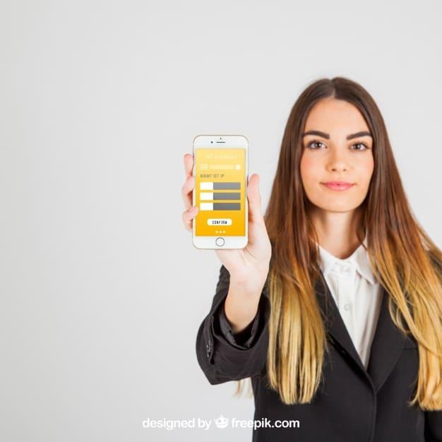 Businesswoman Holding Smartphone