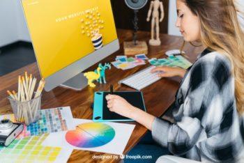 Free Graphic Design Girl Mockup in PSD