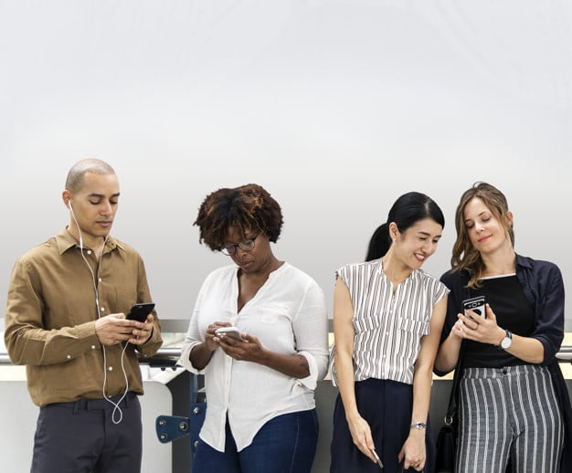 Diverse People Plus Smartphones