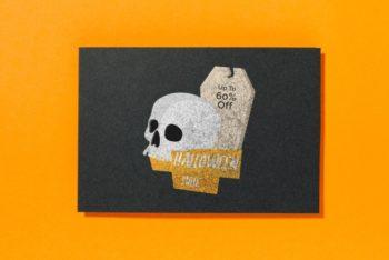 Free Halloween Sale Plus Skull Mockup in PSD