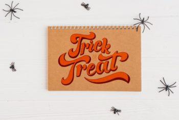 Halloween-themed Calendar Cover PSD Mockup