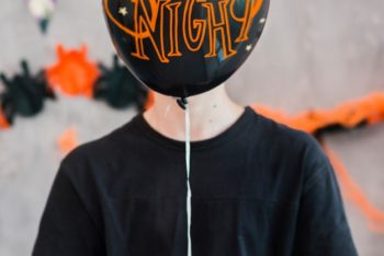 Free Halloween Spooky Balloon Mockup in PSD