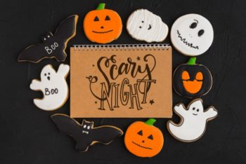 Spiral Notebook Cover Mockup – Available with a Superb Halloween Theme