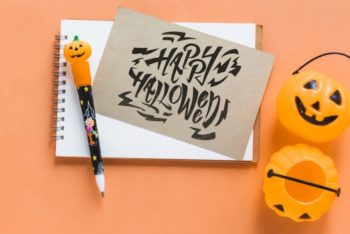Halloween-themed Notebook with Card PSD Mockup