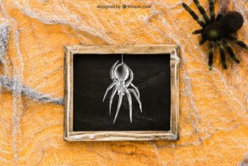 Free Spooky Halloween Spider Mockup in PSD
