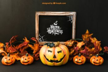 Free Halloween Pumpkins Plus Slate Mockup in PSD