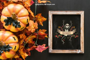 Free Mexican Halloween Slate Mockup in PSD