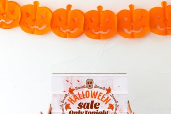 Free Halloween Pumpkin Cutout Decoration Mockup