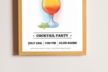 Free Cocktail Party Frame Mockup in PSD