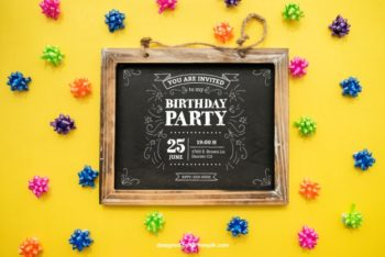 Free Birthday Invitation Slate Mockup in PSD