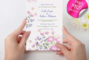 Pretty & Elegant Wedding Invitation Card PSD Mockup