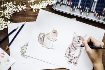 Free Workspace Plus Adorable Animal Drawings Mockup