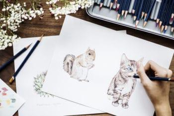 Free Workspace Plus Adorable Animal Drawings Mockup