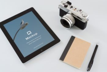 Free iPad Plus Mirrorless Camera Mockup in PSD
