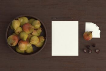 Free Kitchen Fruits Plus Stationery Mockup in PSD