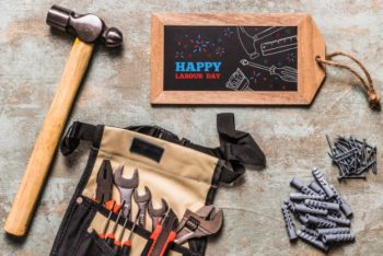 Free Handy Carpentry Tools Mockup in PSD