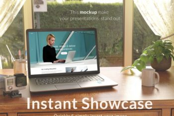 Free Laptop Plus Nice Scenery Mockup in PSD