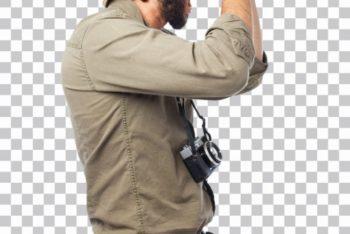 Free Explorer Man Plus Binoculars Mockup in PSD