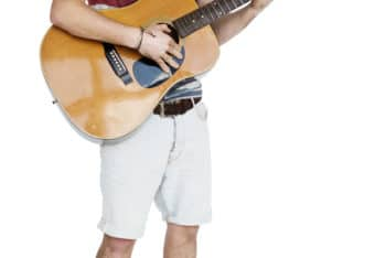 Free Man Playing Guitar Mockup in PSD