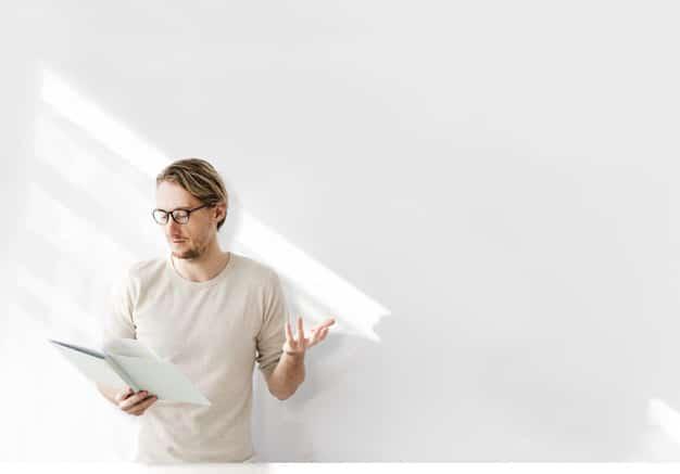 Man Rehearsing Plus White Background