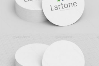 Free Circle Business Card Design Mockup in PSD