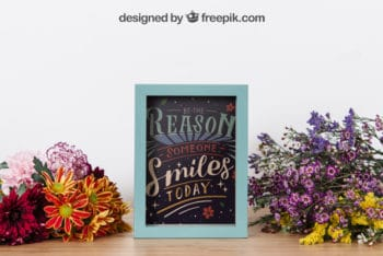Free Inspirational Frame Plus Flowers Mockup in PSD