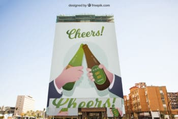 Free Large Beer Billboard Mockup in PSD