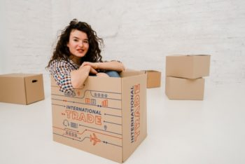 Free Woman Plus Big Cardboard Box Mockup