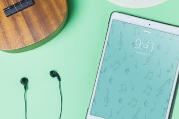 Free Guitar Earphones Plus Tablet Scene Mockup