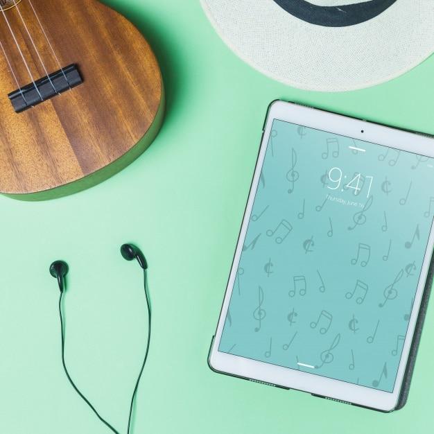 Guitar Earphones Plus Tablet Scene
