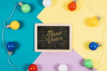 Free New Year Slate Plus Light Bulbs Mockup in PSD