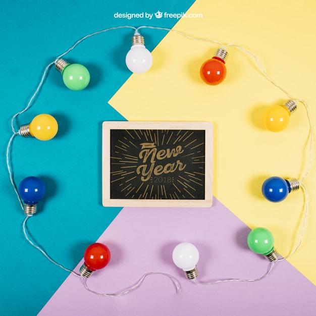 New Year Slate Plus Light Bulbs