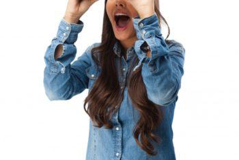 Free Young Woman Plus Binoculars Mockup in PSD