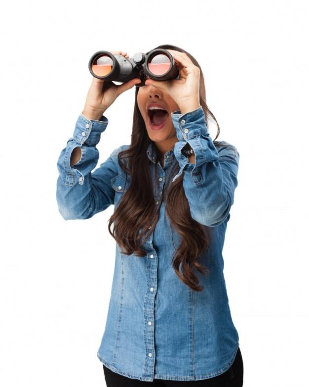 Young Woman Plus Binoculars