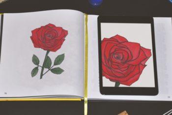 Free Notebook Rose Drawing Plus Tablet Mockup