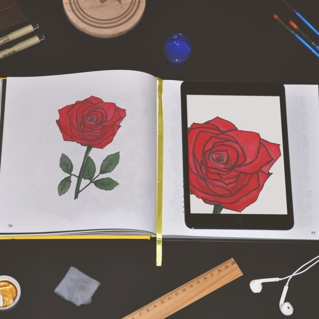 Notebook Rose Drawing Plus Tablet