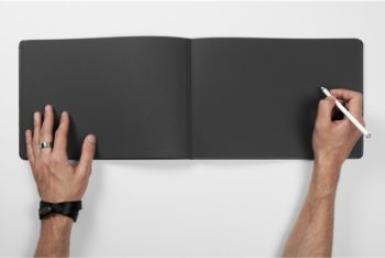 Free Black Page Notebook Mockup in PSD