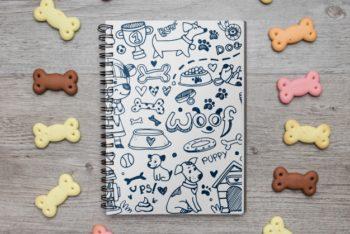 Free Notebook Plus Dog Treats Mockup in PSD
