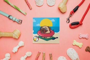 Free Cute Dog Notepad Mockup in PSD