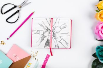 Free Girly Teamwork Notebook Mockup in PSD