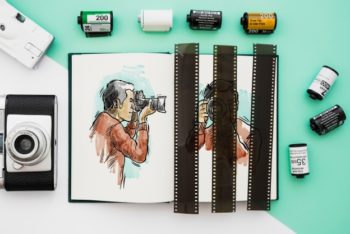 Free Photography Book Plus Film Mockup in PSD