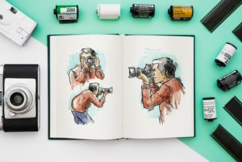Free Open Photography Book Mockup in PSD