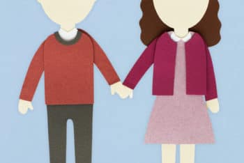 Free Human Couple Paper Craft Mockup in PSD