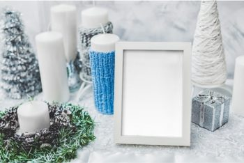 Free White Winter Photo Frame Mockup in PSD