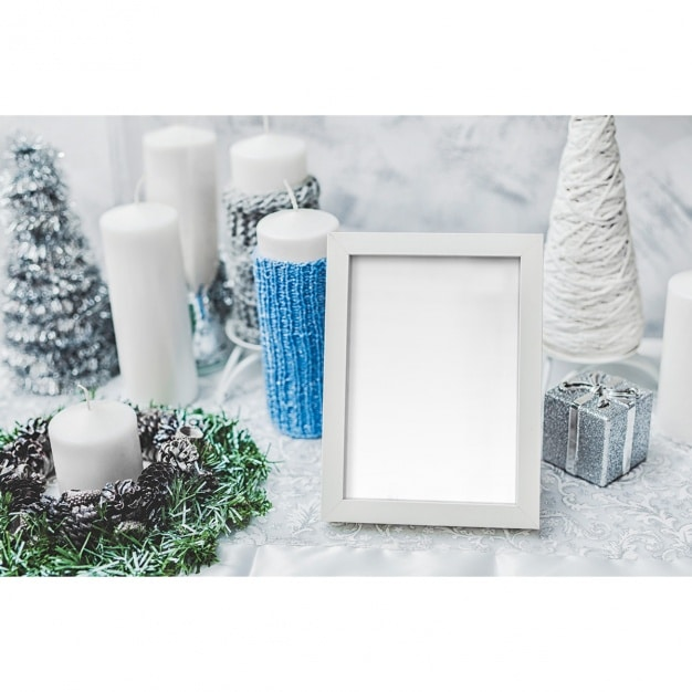 Free White Winter Photo Frame Mockup in PSD - DesignHooks