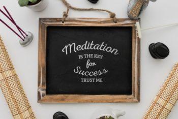 Free Chalkboard Plus Meditation Message Mockup in PSD