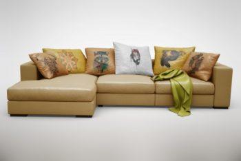 Free Realistic Comfy Sofa Mockup in PSD